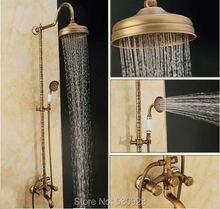 Новый 8 » осадков душем с керамика ручной душ античная латуни душ кран смесителя двойные ручки