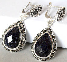 lady's 925 Silver Natural Blue Sand Stone Marcasite Drop Earrings(China)