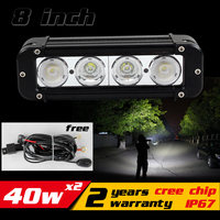 2X 40W CREE LED Work Light Bar For Tractor ATV Motorcycle LED Bar Offroad 4X4 Fog