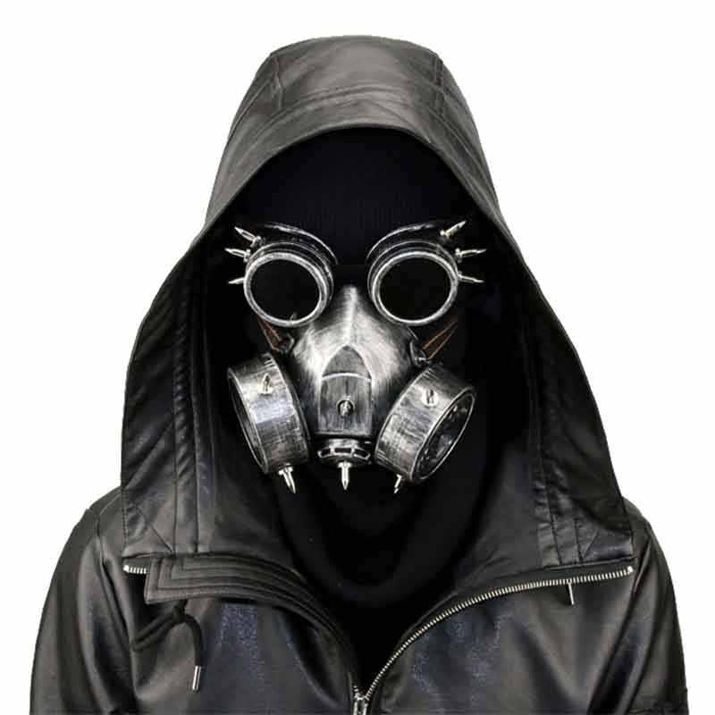 Pria/Wanita Emas Keren Steampunk Militer Kacamata Vintage Gas Respirator Masker Halloween Party Cosplay Punk Gothic Aksesoris