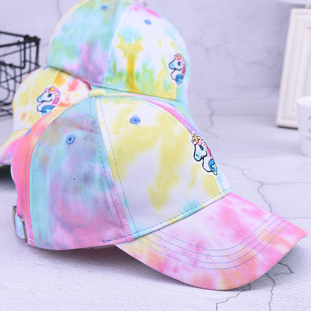 Tie-Dye Printed Unicorn Embroidered Women's Cap