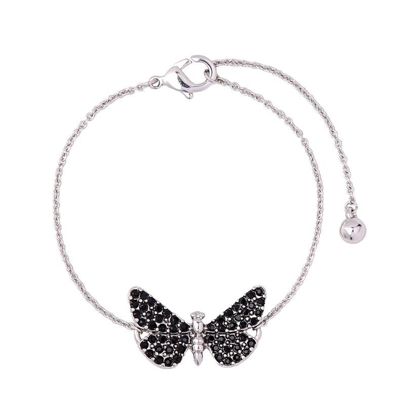 Rose Gold/Silver Color Chain Black Butterfly Bracelet Gift Women ...