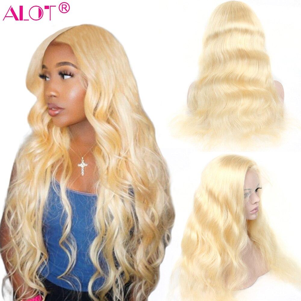 613 Blonde brésilienne corps vague dentelle avant perruque pré plumé Remy cheveux humains Blonde 13x4 dentelle avant perruques avec délié naturel beaucoup