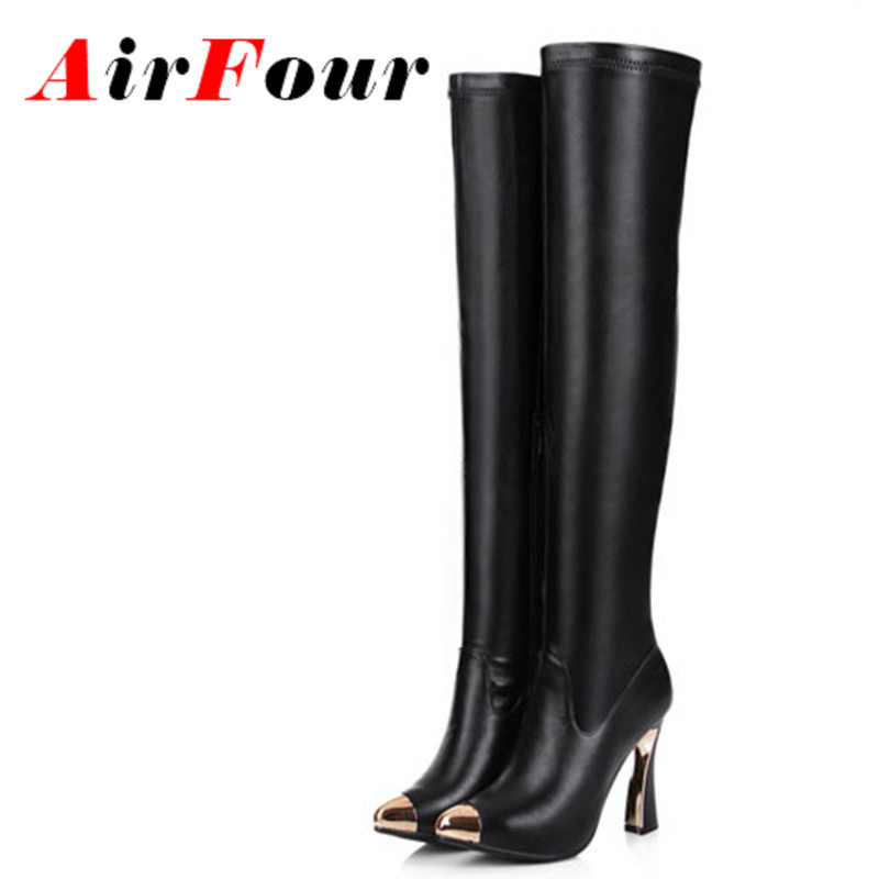 ФОТО Airfour Metal Pointed Toe Sexy High Heels Thigh High Boots Women Motorcycle Boots Autumn Winter Shoes Women Over-the-knee boots