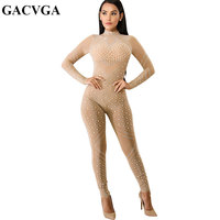 GACVGA Sparkly Bodycon Jumpsuits Crystal Women Sexy Jumpsuits Diamond Perspective Birthday Celebrate Party Costume Prom Romper