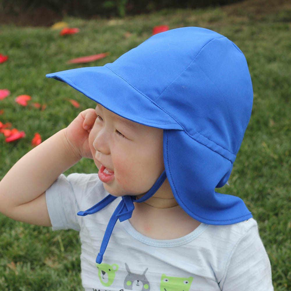 Mùa Hè Cho Bé Hat Trẻ Ngoài Trời Cổ Tai Bao Da Chống Tia UV Bảo Vệ Bãi Biển Mũ Trẻ Em Bé Trai Gái Bơi Sập Nắp cho 4-24months
