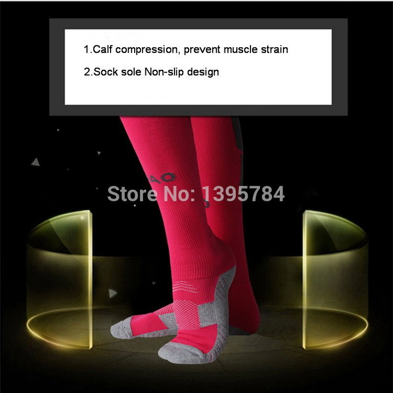 Image 5 - R BAO 1 Pair Cotton Long Soccer Socks Non slip Sport Football Ankle Leg Shin Guard Compression Protector For Men 39 44