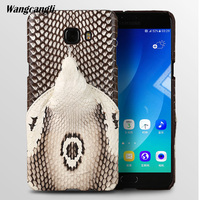 Brand genuine snake skin phone case For Samsung C9 Pro phone back cover protective case leather phone case For Samsung a8 2018