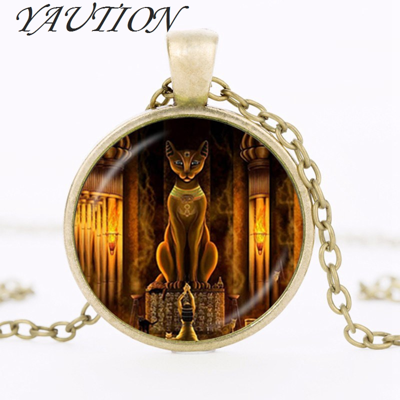 YAUTION Ancient Egyptian Cat Goddess Statue Necklace Egypt Lord Pendant Handmade Glass Necklace Women Jewelry Amulet Accessories ...