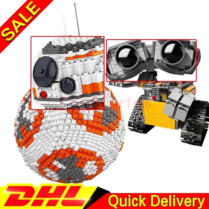 LELE 35020 Star Battle Ultimate BB8 Robot + Lepin 16003 WALL-E Robot Ideas Model Building Kits Blocks Bricks legoings Toys lepin 16003 ideas robot wall e building assembling blocks bricks educational kid s toys compatible with lele 21303 b162