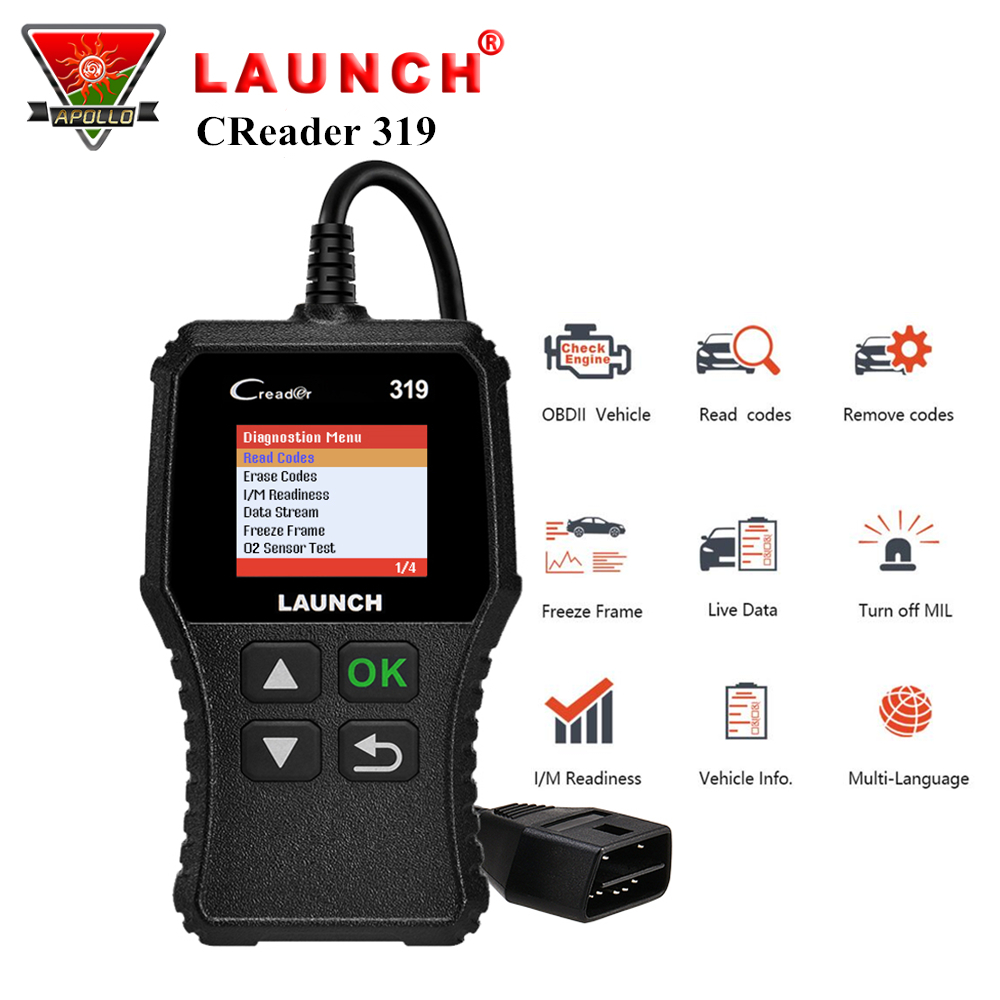 Launch X431 Creader 319 CR3001 Full OBD2 OBDII Code Reader Scan Tools OBD 2 CR319 Car Diagnostic tool PK AD310 ELM327 ScannerLaunch X431 Creader 319 CR3001 Full OBD2 OBDII Code Reader Scan Tools OBD 2 CR319 Car Diagnostic tool PK AD310 ELM327 Scanner