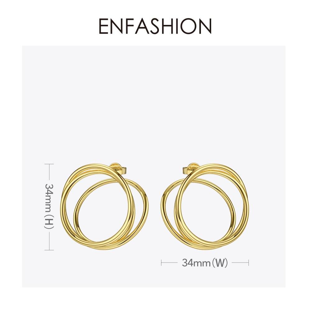 Image 4 - ENFASHION Multi layer Circle Stud Earrings For Women Punk Geometric Simple Line Earings Statement Fashion Jewelry Oorbellen 1032Stud Earrings   -