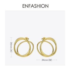 Image 4 - ENFASHION רב שכבתי מעגל Stud עגילים לנשים פאנק גיאומטרי פשוט קו עגילי הצהרת תכשיטים Oorbellen 1032