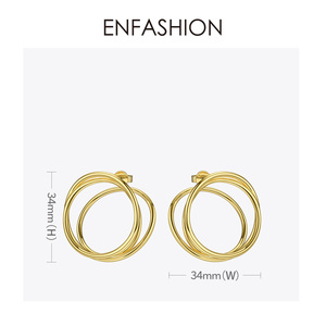 Image 4 - ENFASHION wielowarstwowe koło stadniny kolczyki dla kobiet Punk geometryczny prosta linia kolczyki oświadczenie biżuteria Oorbellen 1032