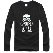 2016 Hot Sale Funny Skeleton Cartoon Black T-shirt Men 2016 Summer and Mens Long Sleeve tshirt cotton in Soft Cotton TEES