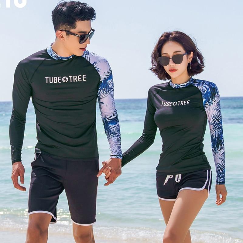 2018 New Rash Guards Men Women 2 Pieces Long Sleeve Shirt Shorts Black Couples Swimwear Surfing