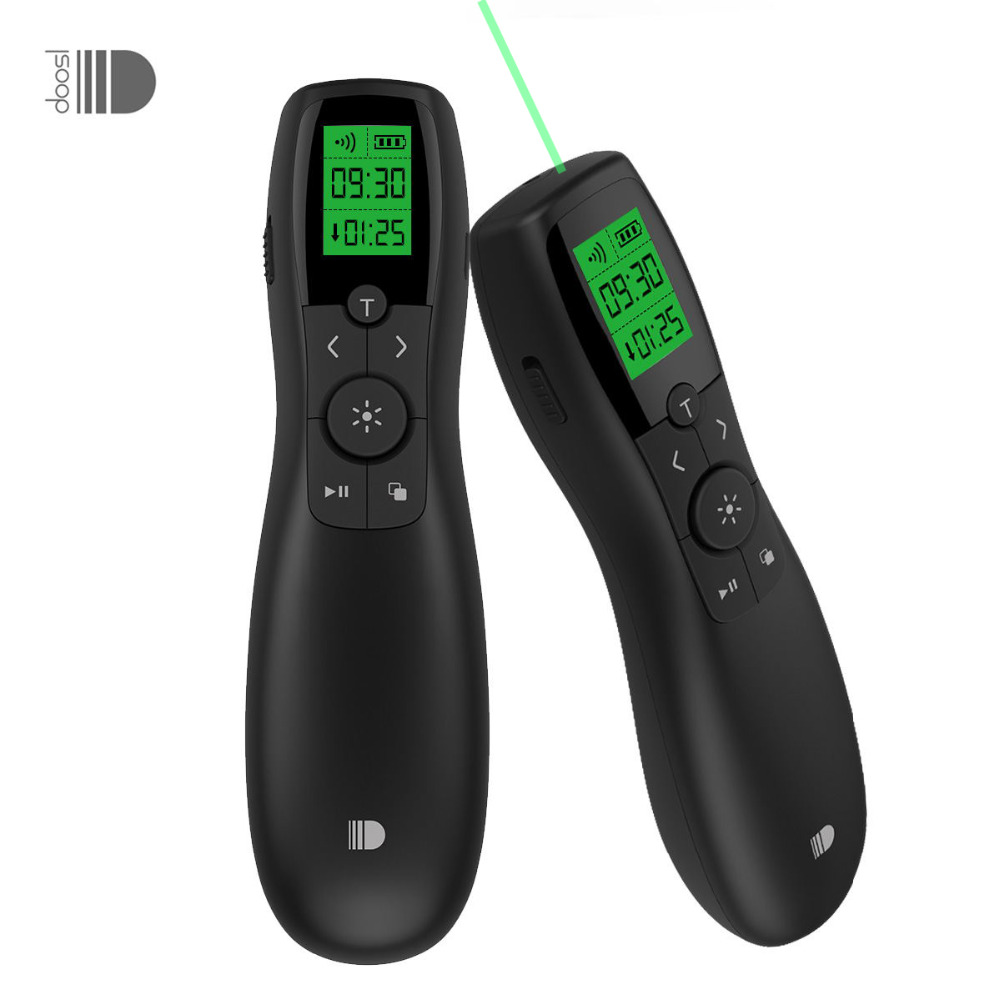Wireless Presenter Doosl Rechargeable Green Pointer Laser with LED Display 2 4GHz Powerpoint Presentation Remote Control