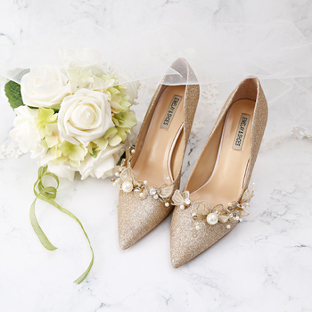 Golden Bride Pumps Sequined Wedding Shoes Dress Bridal Annual Meeting Banquet Genuine Leather Date Party 9cm High Heels