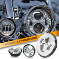 """7"""" Chrome LED Projector Daymaker Headlight & Auxiliary Passing Lights For Harley Davidson Softail Electra Street Glide Road King"""