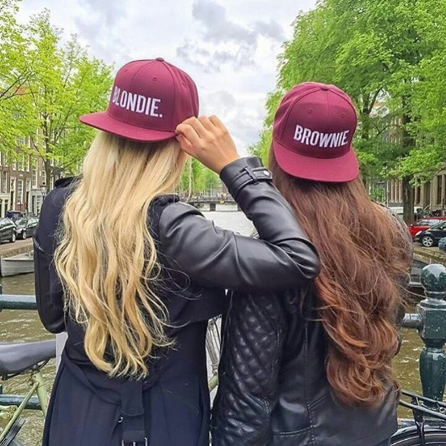 f6cdb39c4 BLONDIE BROWNIE Embroidery Snapback Hats girlfriend Women Gifts For Her  Burgundy Baseball Caps HipHop Adjustable Gorras