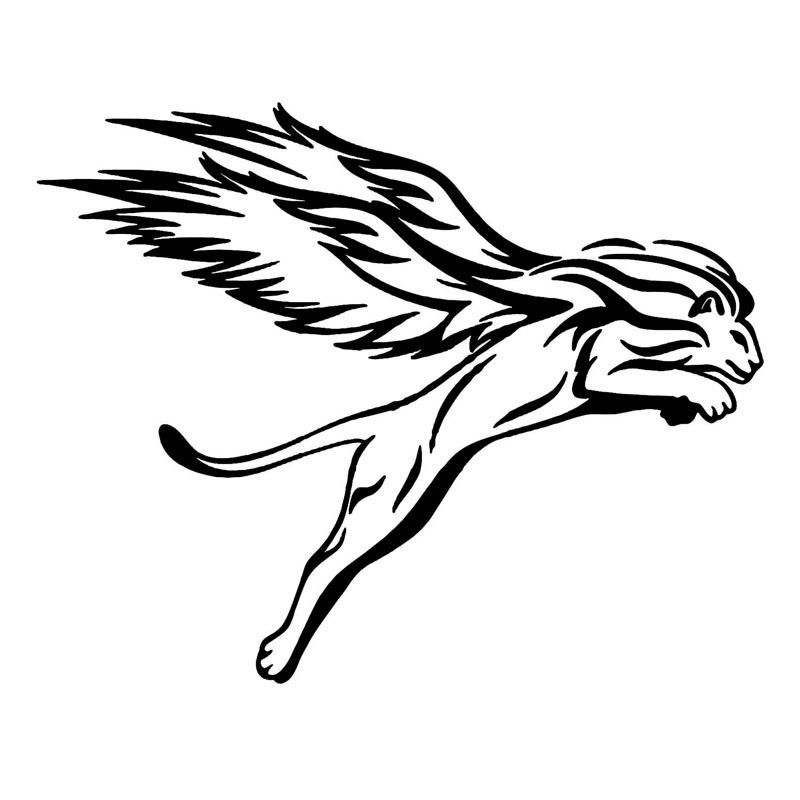 1Pcs 3D Car Stickers Funny Wings Styling Black/White Lion Motorcycle Car Accessories Stereo Auto Lacy Sticker 25*20cm