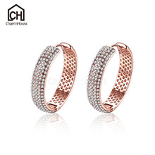 Rose Gold Color Earring Hoops for Women Fashion Jewelry Crystal Round Earrings Korean Ear Cuff Hypoallerge Not Fade Bricons(China)