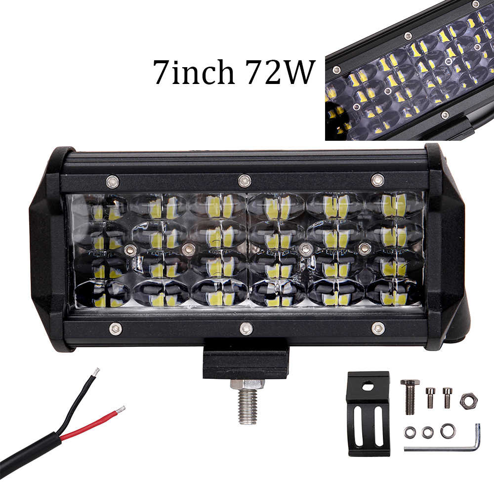 "ECAHAYAKU 1pcs 72W 7""inch LED WORK Light Bar Spot Beam 12V 24V Truck 4WD ATV SUV UTV offroad 4x4 Driving Working Lamp Fog light"