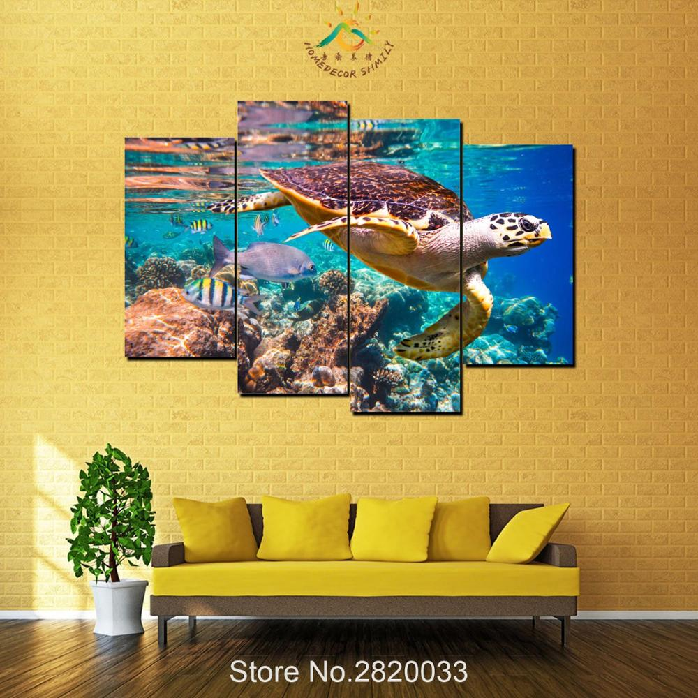 4 Piece Sea Turtle Canvas Art Modern Wall Pictures Canvas Prints ...