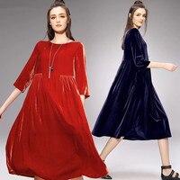 2018 Womens Velvet Dresses Spring Women Party Dress vestidos plus size Autumn long velour dress