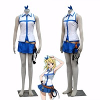 Athemis Fairy Tail Lucy Cosplay Costumes With Belt Set Anime Cosplay Mini Skirt Pleated Dress Custom