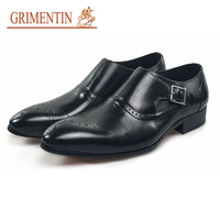 GRIMENTIN brand handmade buckle men dress shoes high quality leather black male shoes brand business shoes