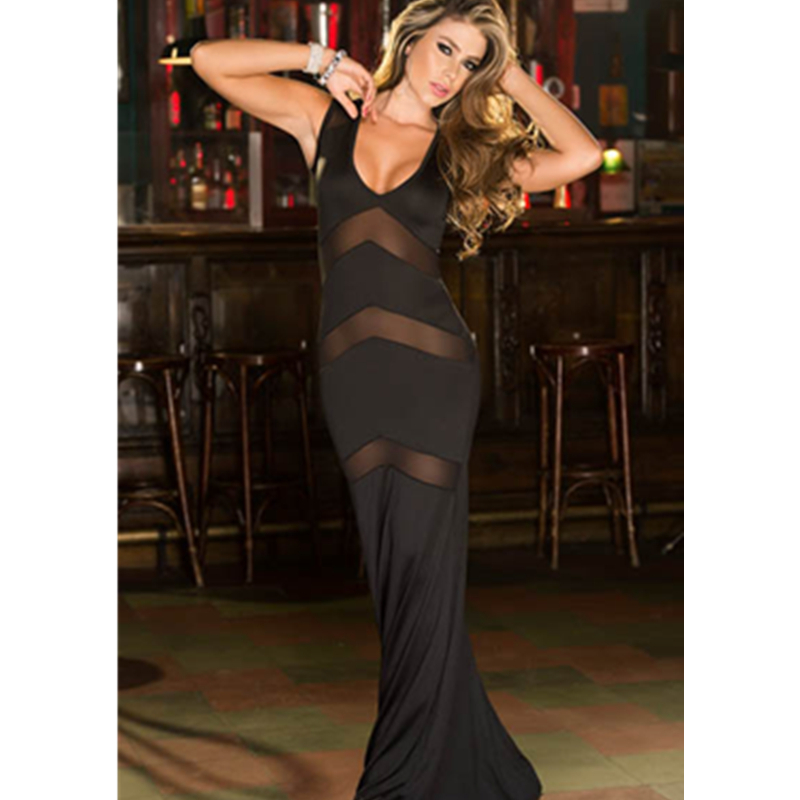 Bring It On Beautiful in This Daring Mature Ladies Black Sleepwear Nightgown Fashion Sexy Hot Sexy Women's Long Gown L5102 2
