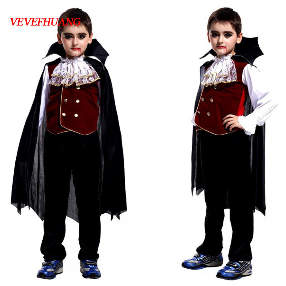 VEVEFHUANG Carnival Party Halloween Kids Children Count Dracula Gothic Vampire Costume Fantasia Prince Vampire Cosplay For Boy