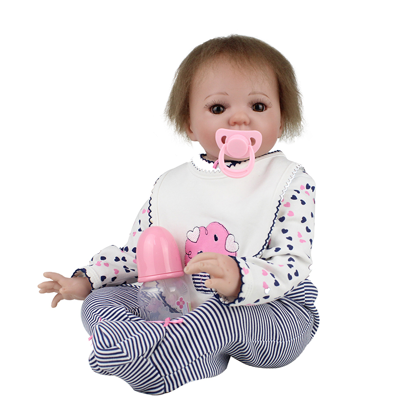 New 20 Inch Dolls Silicone Reborn Baby Dolls Handmade Realistic Lifelike Real touch Vinyl newborn Doll Girl Gif Juguetes t 23 russian silicone reborn baby girl full body vinyl dolls touch real baby dolls lifelike real hair new 2017 kids playmates