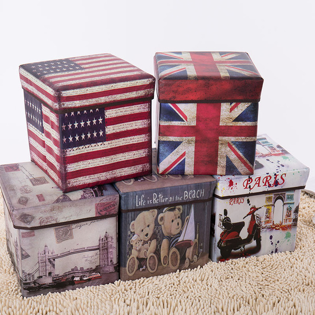 European style retro printing film covered receptacle stool receptacle box multi functional folding storage stool with cover for