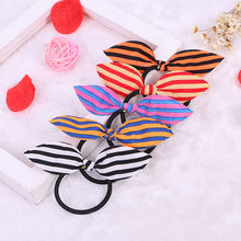 Striped Rabbit Ears Hair Ring Headwear, Child Towel Ring Rabbit Ears Hair Ring, Best DIY Gift For Kids And Girls(China)