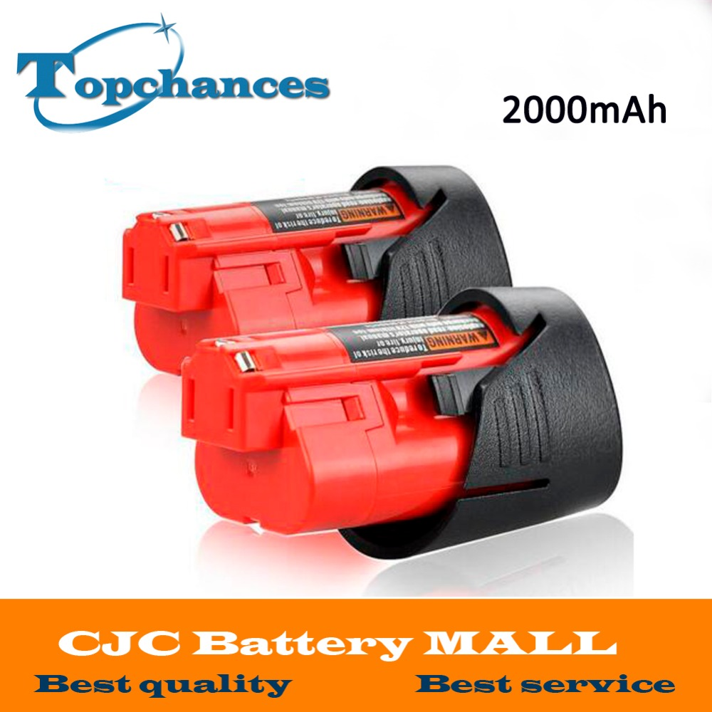 2PCS New High Quality 12V 2000mAh Li-Ion Replacement Power Tool Battery for Milwaukee M12 C12 BX C12 B 48-11-2402 48-11-2401 3pcs 12v lithium ion 1500mah power tool rechargeable battery with charger replacement for milwaukee m12 48 11 2401 48 11 2402 page 5