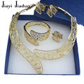 Jiayi jiaduo nigeriano para mujeres joyería de la boda plateado chapado en oro exquisito tallado collar del encanto de la joyería nupcial