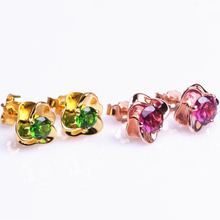 jewelry factory wholesale fashionable 925 sterling silver natural  pink tourmaline greendiapside stud earrings for women