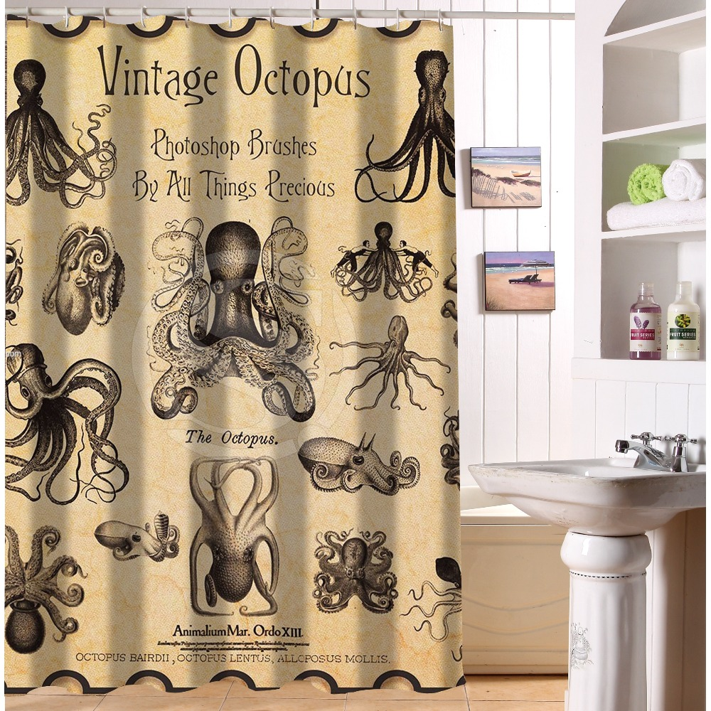 Vintage shower curtains - Free Shipping Waterproof Shower Curtain Printed Vintage Octopus Bathroom Curtains Mildewproof Polyester Fabric 122x182cm China