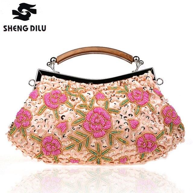 Vintage Socialite Handbags Women Beading Floral Gold Clutch Ladies Clutches Wedding  Bag Purses Female Beaded Bag c7da8ae30b1a
