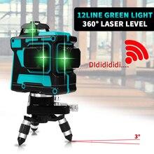 12 линий 3D лазерный уровень самонивелирующийся 360 горизонтальный и вертикальный крест супер мощный зеленый лазерный луч линии