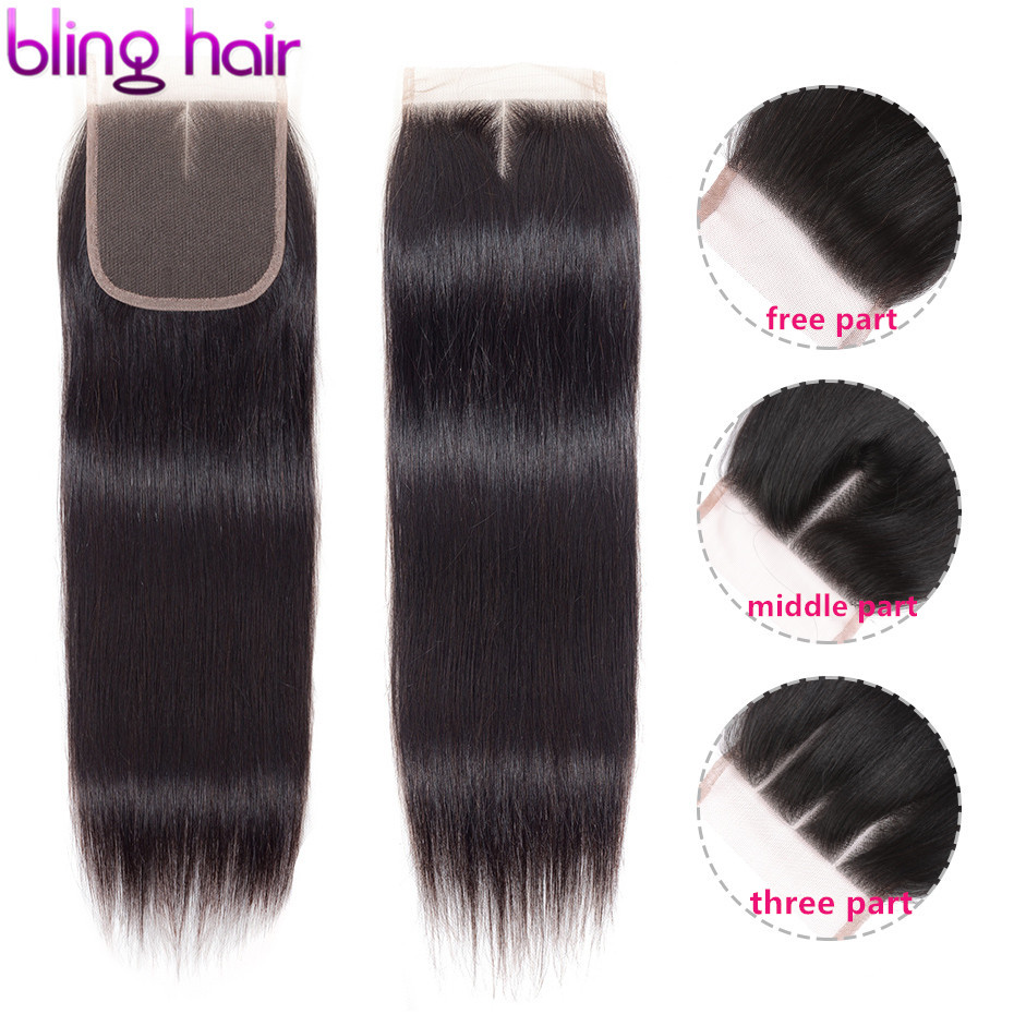 Bling Hair 4*4 Swiss Lace Closure Peruvian Straight Human Hair Closure Free/Middle/Three Part with Baby Hair Remy Natural Color