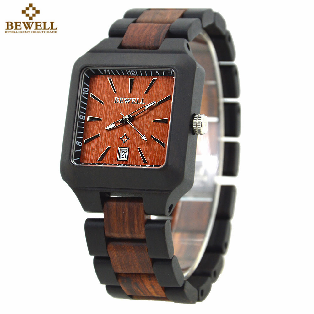 BEWELL Hand-made Watch for Men Wood Watch Box Date Quartz Casual Rectangle Wooden Case Watches Relogio Masculino Paper Box 110A bewell wood watch men top luxury wooden square quartz watch fashion men business watches with paper box relogio masculino 2196