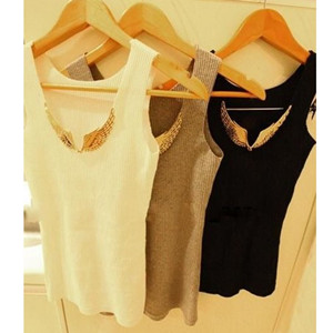 Spring Summer Women   Tank     Tops   Sexy Sequined Metal Wings Sleeveless Camis Casual Pullovers Women Clothing