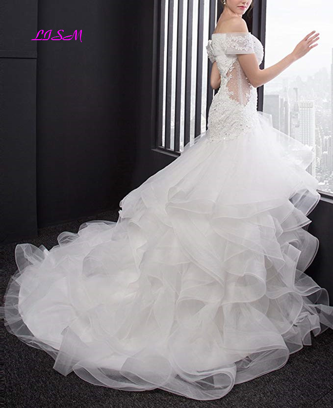 Off the Shoulder Mermaid Wedding Dresses Sexy Bodice Long Bridal Gowns High Quality Custom Made Wedding Gowns robe de mariee