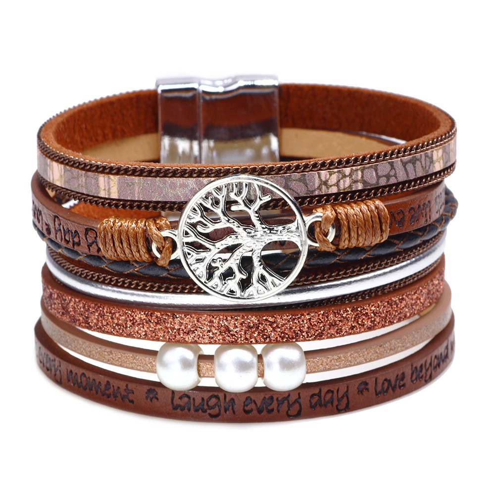 Kirykle-bracelet multicouche en cuir enveloppant pour femmes, bijoux à plusieurs couches, arbre de vie, style Boho, pour adolescents et garçons 3