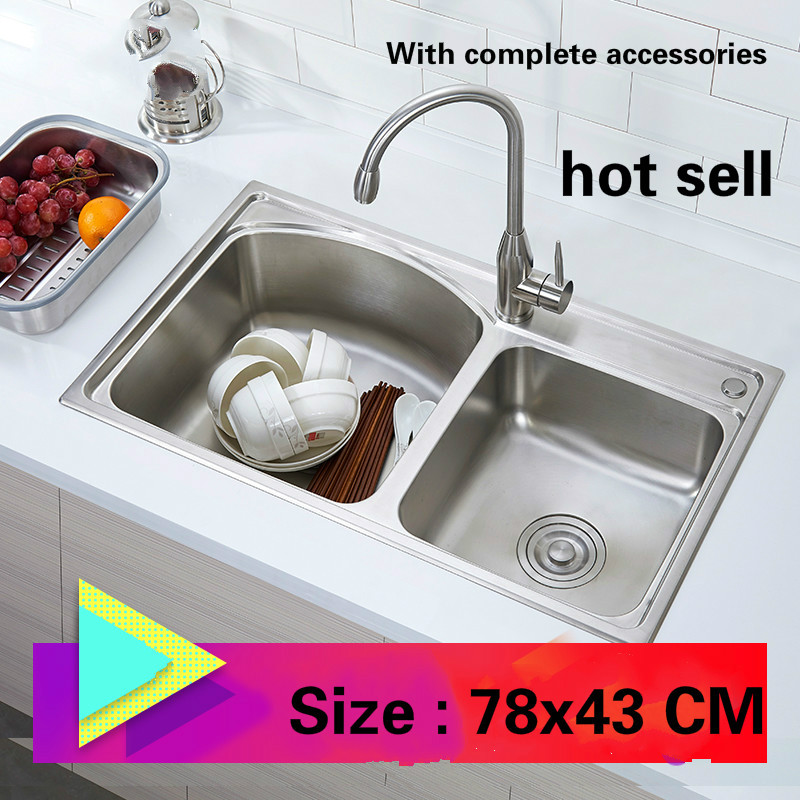 Free Shipping Fashionable Small Kitchen Sink 0.8 Mm Thick Food Grade 304 Stainless Steel Single Slot Hot Sell 78x43 CM