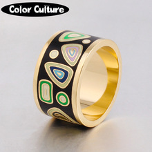 2017 New Design Pattern Gold Plated Stainless Steel Couple Rings Enamel Jewelry Rings for Men/Women Mother Gift Free Shipping