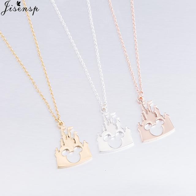 Jisensp Bijoux 2018 Fashion Mickey Head Necklace Lovely Long Chain Castle Necklaces Pendants Women Statement Jewelry Kids Gifts
